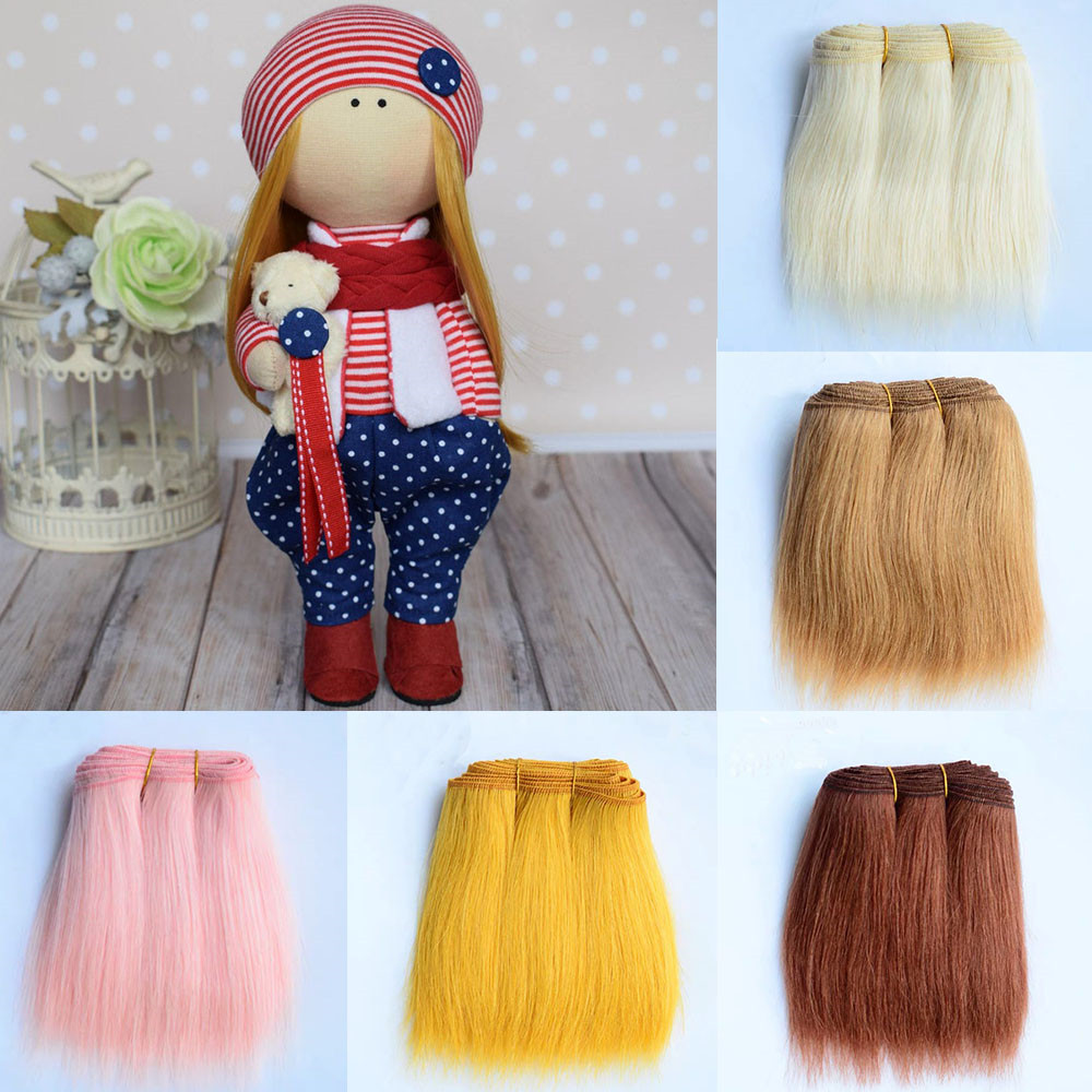 Extensões de cabelo de lã 18cm caqui rosa preto em linha reta de lã peças de cabelo para todas as bonecas diy perucas tramas de cabelo acessórios de boneca