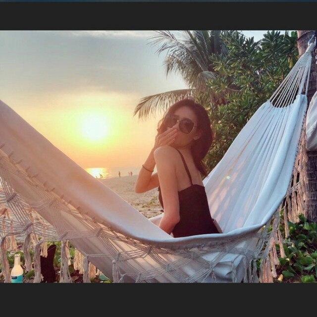 Ultralarge Tassels Hammock Bohemian Beach Outdoors Hamak Swing Europe Standard 230*150cm Fabric Size 90*59 Inch