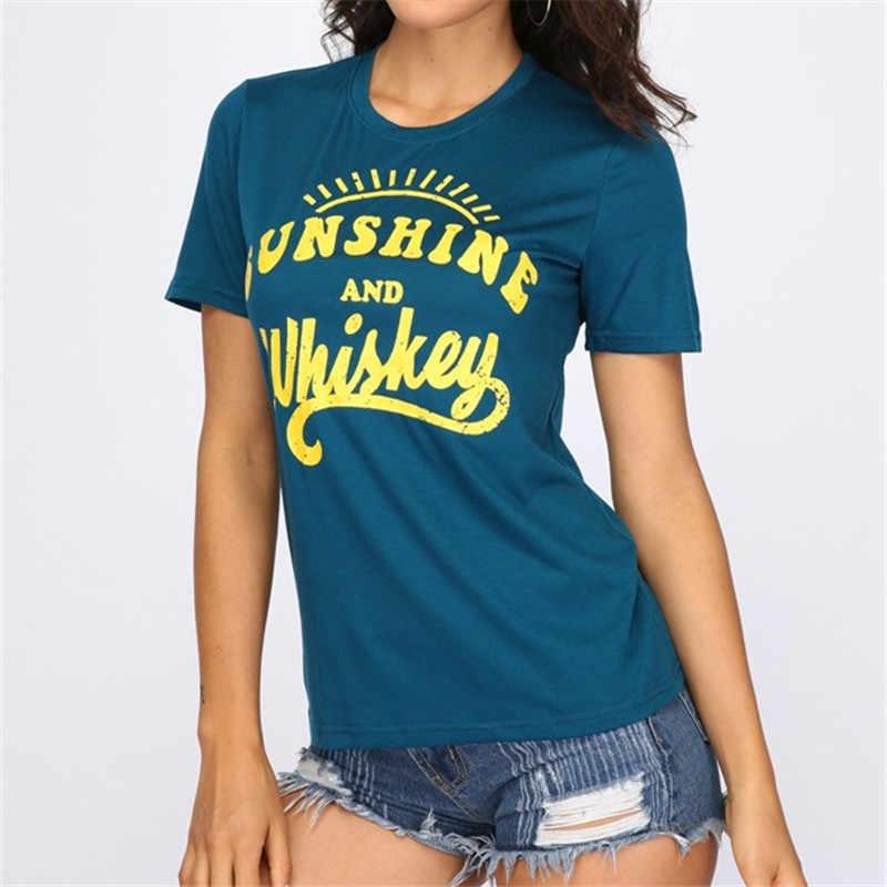 Nouvelles Femmes T-Shirt À Manches Courtes Vert Foncé hauts tee Soleil Et Whisky Impression O-cou T-Shirt 2018 D'été décontracté Femmes hauts Tee