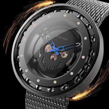 BOBO BIRD Steel Watch Skull Dial New Design 360 Degree Rotation Bearing Construction Wristwatches relogio masculino C-Q21