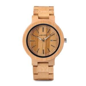 Image 2 - BOBO kuş WP23 basit kuvars saatler tüm orijinal bambu kol saati tarih ekran ile erkekler kadınlar için