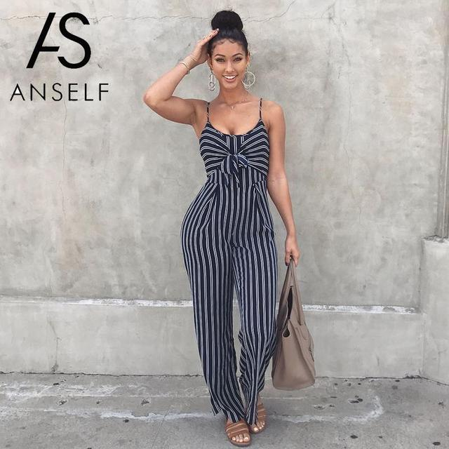 d327384531d2 Tracksuit Women Jumpsuit Striped Wide Leg Pantsuit Tie Front Spaghetti  Straps Sleeveless Casual Playsuit Rompers female Overalls