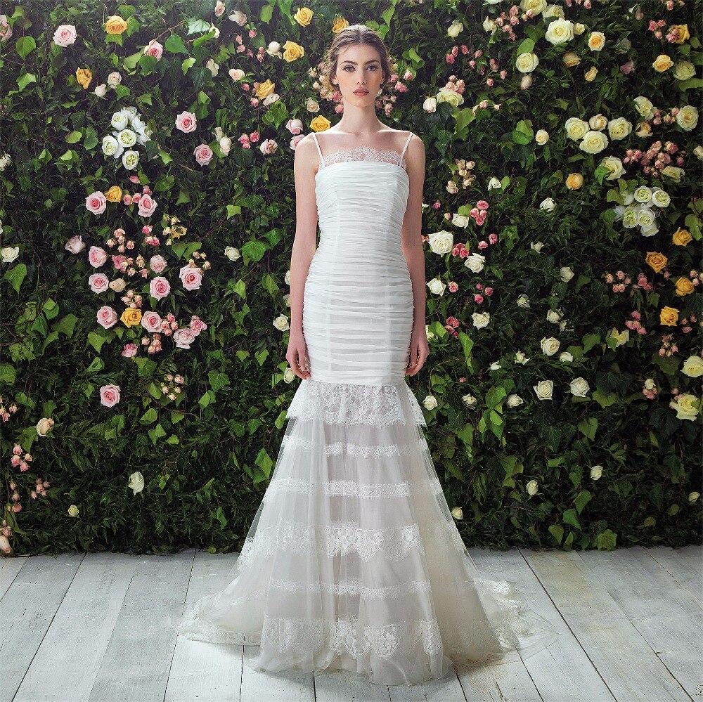 Rivini Lace Tiered Wedding Gown: 2017 Elegant Spaghetti Straps Mermaid Wedding Dress