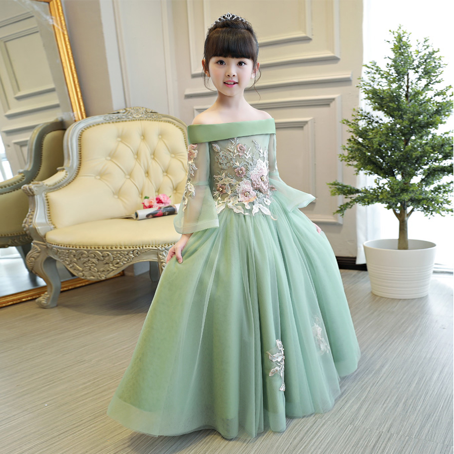 2018New European Luxury Girls Party Princess Dress Kids Embroidered ...