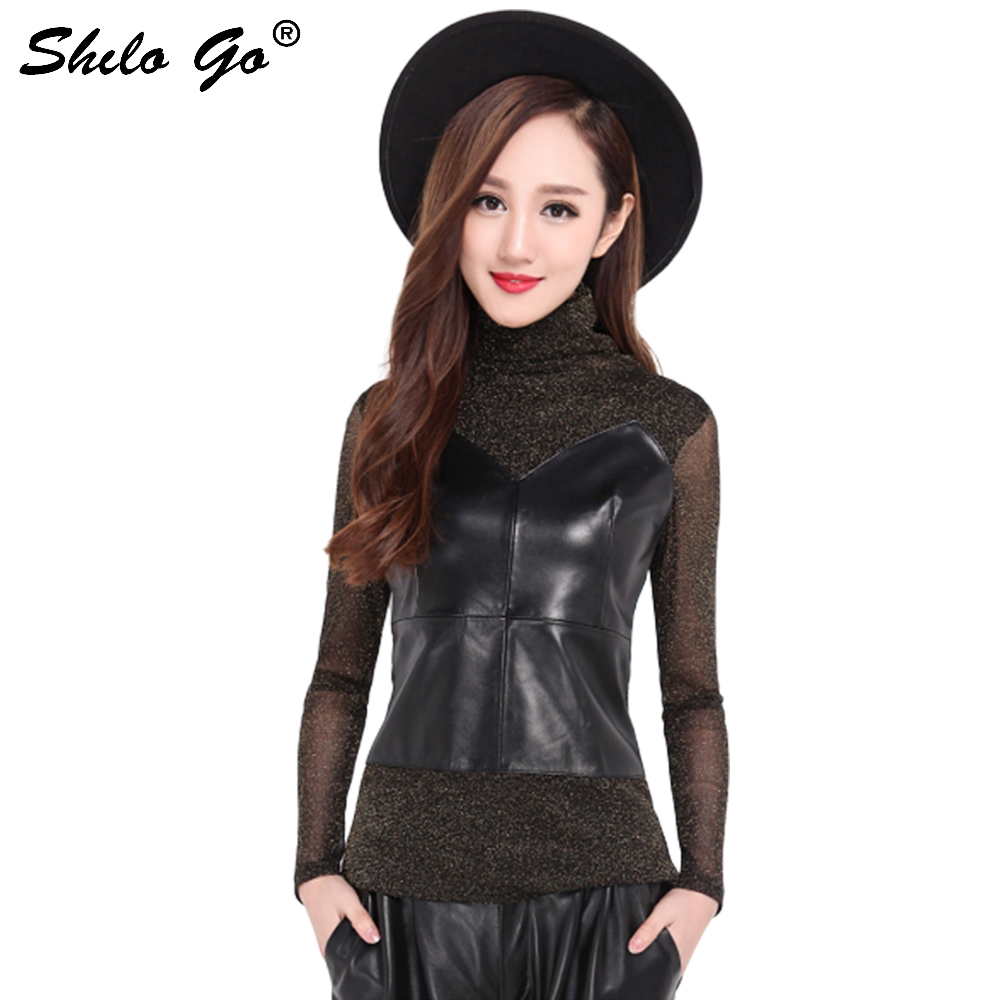 Spring fashion new women high quality genuine sheep skin sexy bright silk chiffon transparent long sleeved