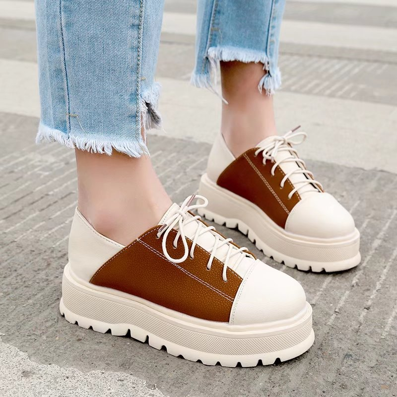 Round Toe Creepers Platform Loafers Casual Flats Lace Up Woman Autumn Creepers Women Flats Lace-Up Shoes Sneakers Oxfords Size 8 стоимость
