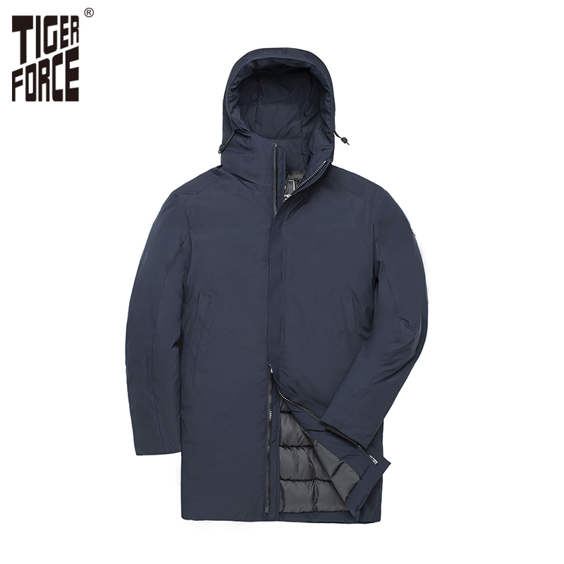 TIGER FORCE Men Autumn Winter Jacket Thicken Warm Long Male   Parka   Men's Padded Jacket Business Casual Overcoat Hooded Outwear