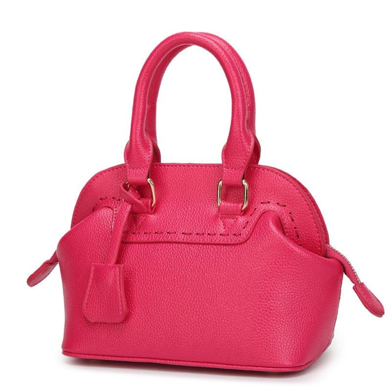 Beige Hot Pink MINI Shoudler Bag Women Classy Shell Bag Sweet Style Ladylike PU Leather Shoulder