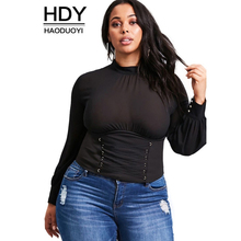 HDY2017 Fashion women large size simple stand collar zipper hollow front waist cross strap lantern sleeves solid color shirt