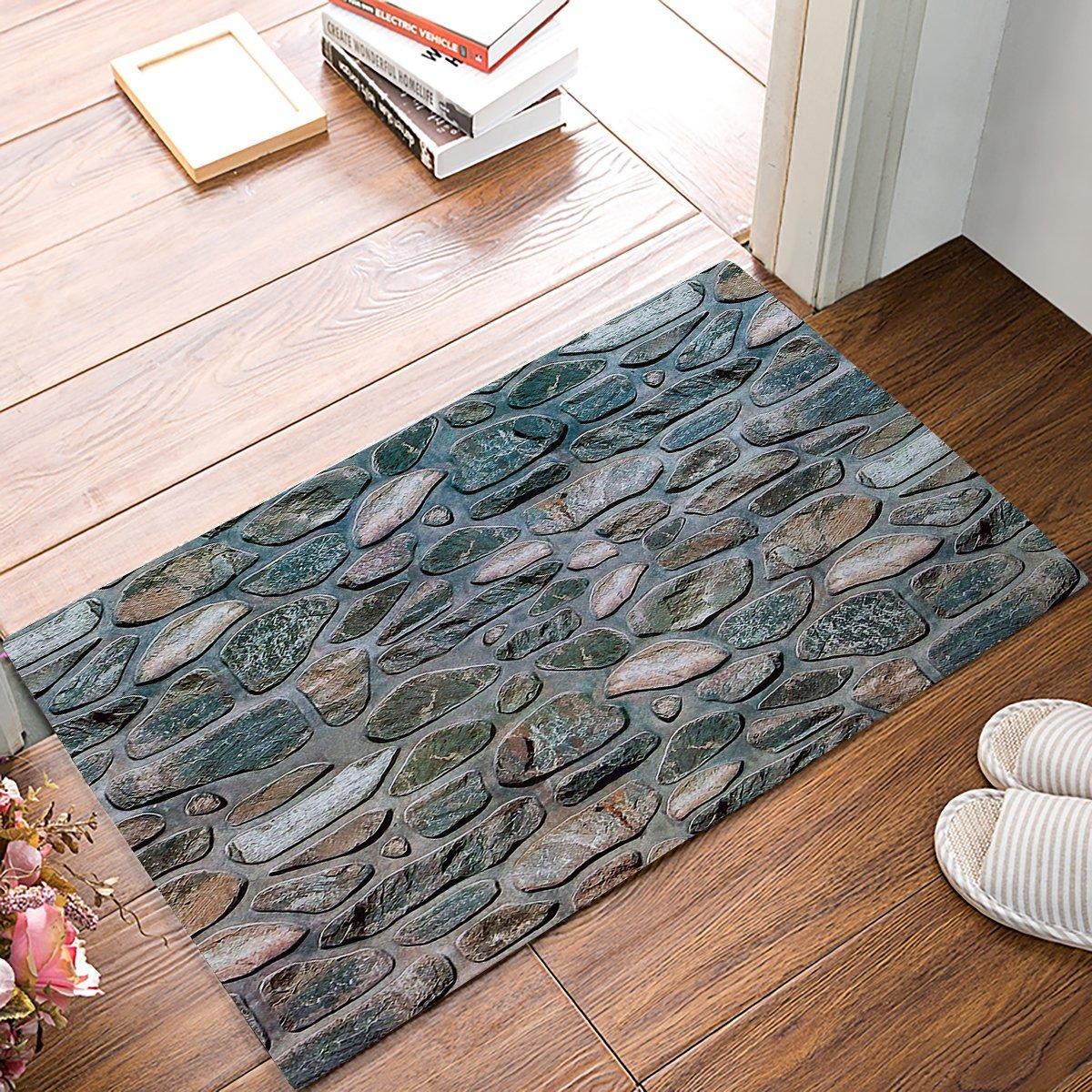 3D Marble Stone Print Door Mats Kitchen Floor Bath Entryway Rug Mat Absorbent Indoor Bathroom