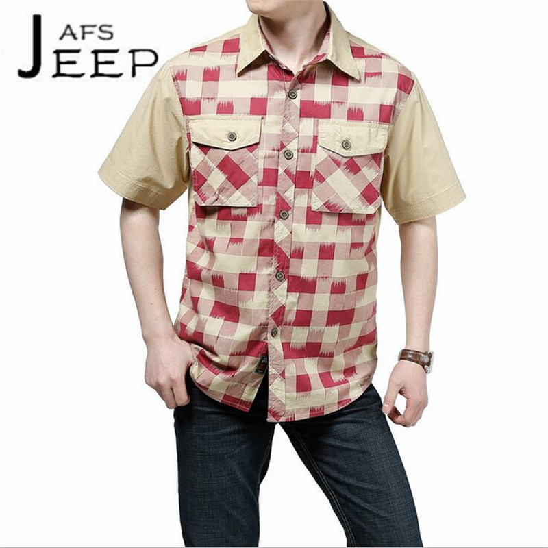 AFS JEEP Short Sleeve Summer Patchwork Sleeve Plaid High Quality Cotton Shirt,Green/Pink Classical Design Cargo Pockets shirts