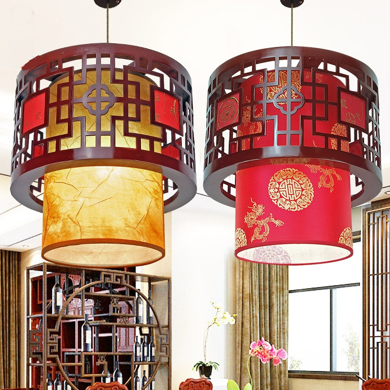 Chinese style Wooden round wood art Pendant Lights of modern Chinese Restaurant Restaurant balcony aisle festive lamp ZS34 art of war