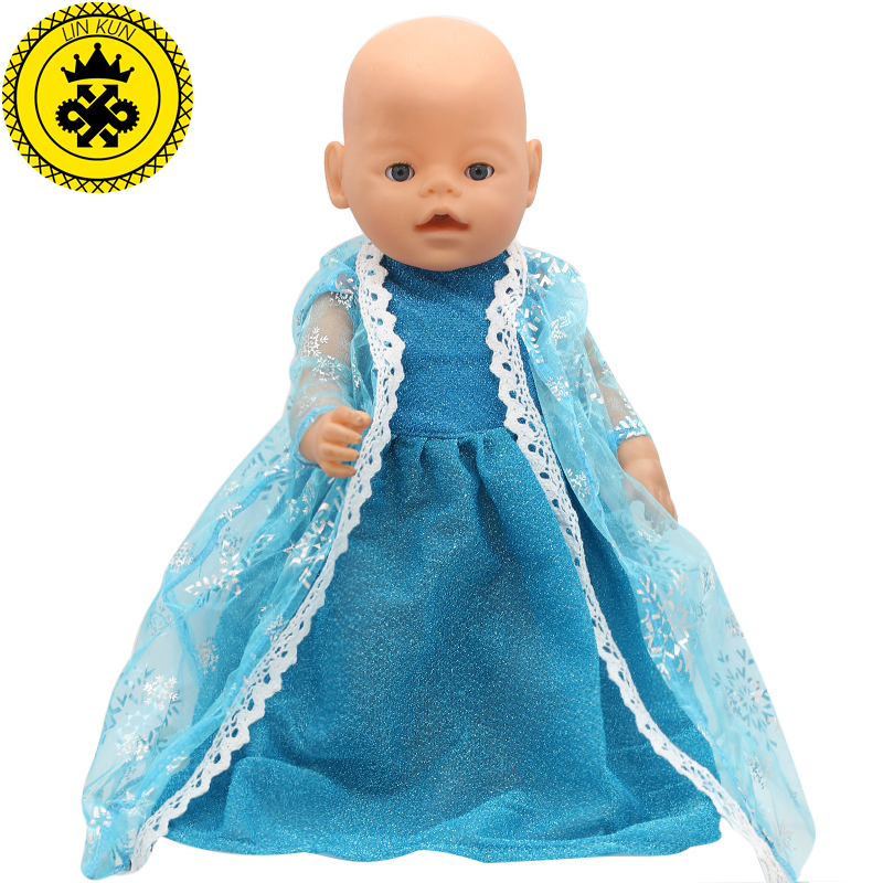 Fit For 43cm Zapf Baby Born Doll Clothes Elsa Blue Lace Dress Princess Dress Doll Accessories 2017 New Fashion 162 baby born doll clothes bat patch skirt dress fit 43cm baby born zapf or 17inch baby born doll accessories high quality love 183