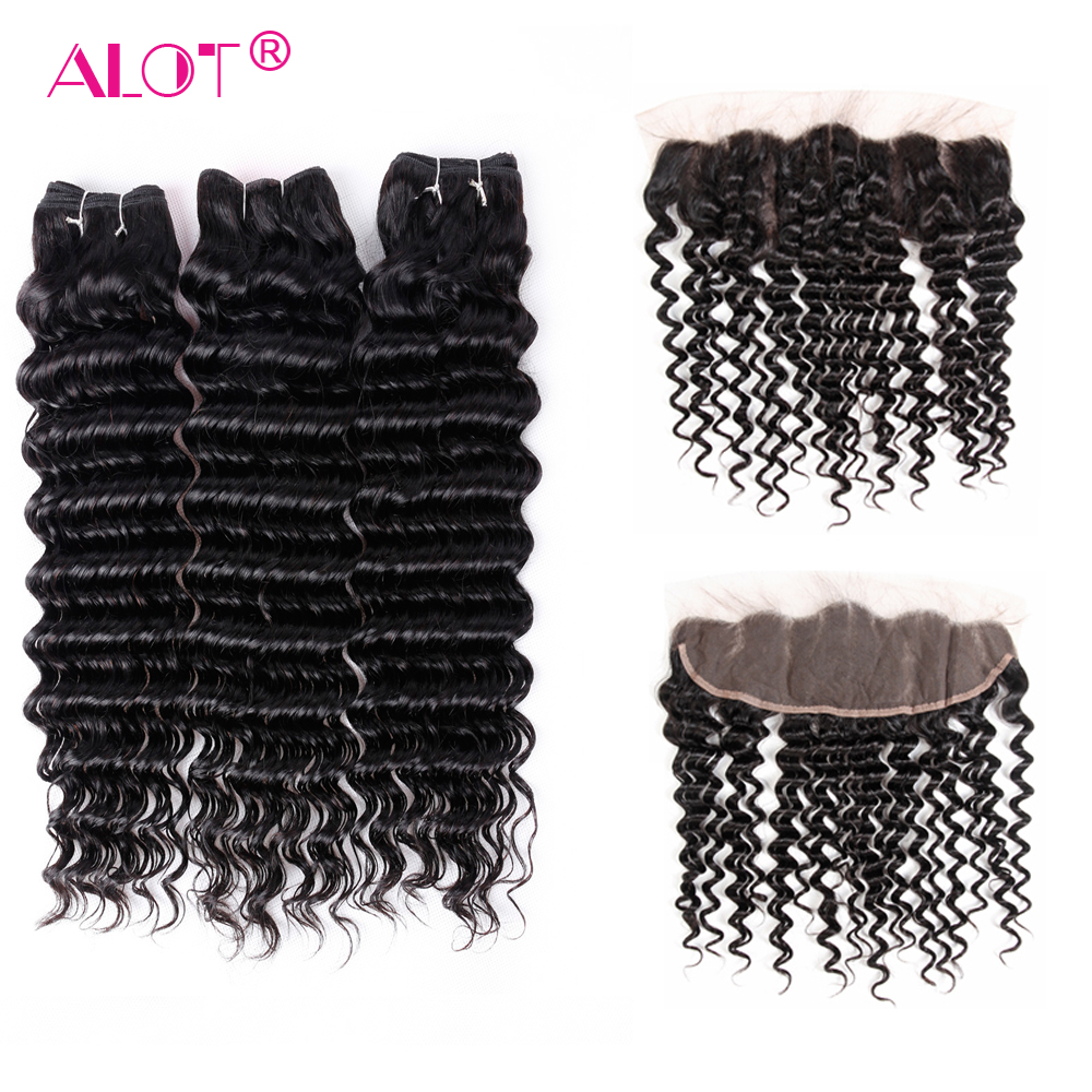 Alot Hair Vietnamese Deep Wave Bundles With Frontal Closure Human Hair Non Remy 13*4 Ear To Ear Lace Frontal With Bundles-in 3/4 Bundles with Closure from Hair Extensions & Wigs    1