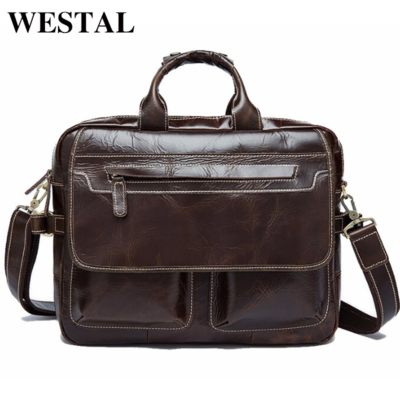 WESTAL Leather Men Briefcase Portfolio Handbags Tote Bags Shoulder Messenger Bags Genuine Leather Men Bag Briefcase Laptop Bag xiyuan genuine leather handbag men messenger bags male briefcase handbags man laptop bags portfolio shoulder crossbody bag brown