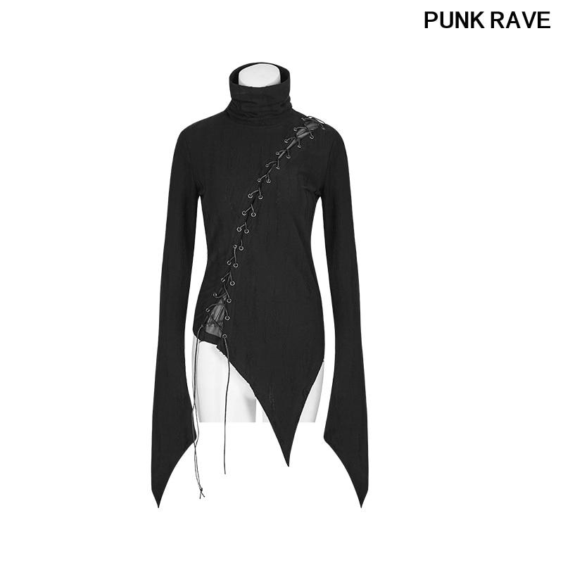 Gothique Rock noir Bandage Slim T-shirt asymétrique coton col montant Vintage Micro-ruptures couture hauts PUNK RAVE T-478