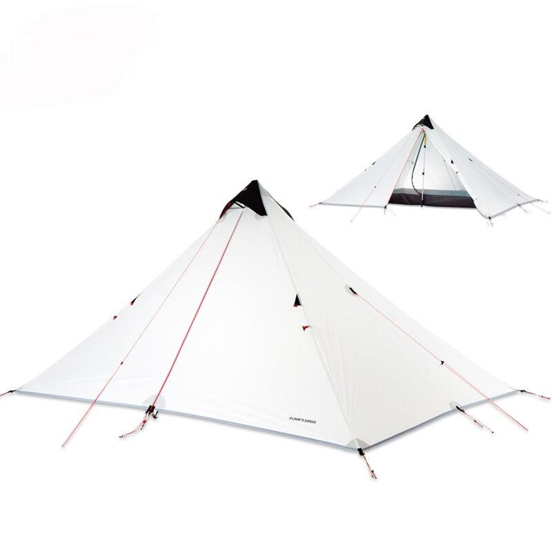 FLAME'S CREED 15D revêtement en Silicone sans fil Double couche pyramide tente unique 1.5 personne imperméable ultra léger Camping 3 saison