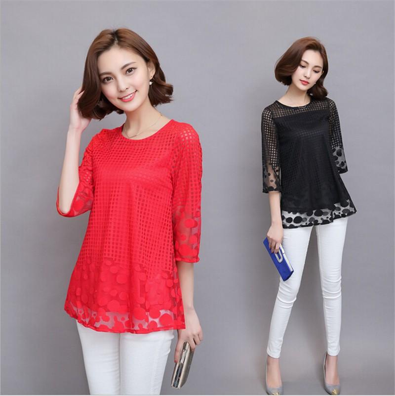 Plus Size 4XL 5XL 6XL  Luxury Lace O Neck  Women Blouse Shirt Noble Long Mesh sleeve Shirt Blouse Vintage tops Blusas Femininas (3)