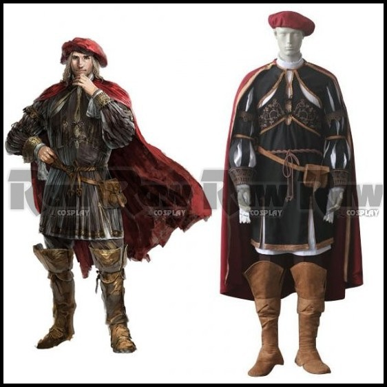 2015 Customised Assassins Creed 2 II Leonardo da Vinci cosplay Costume Anime  role play Cloak Cape