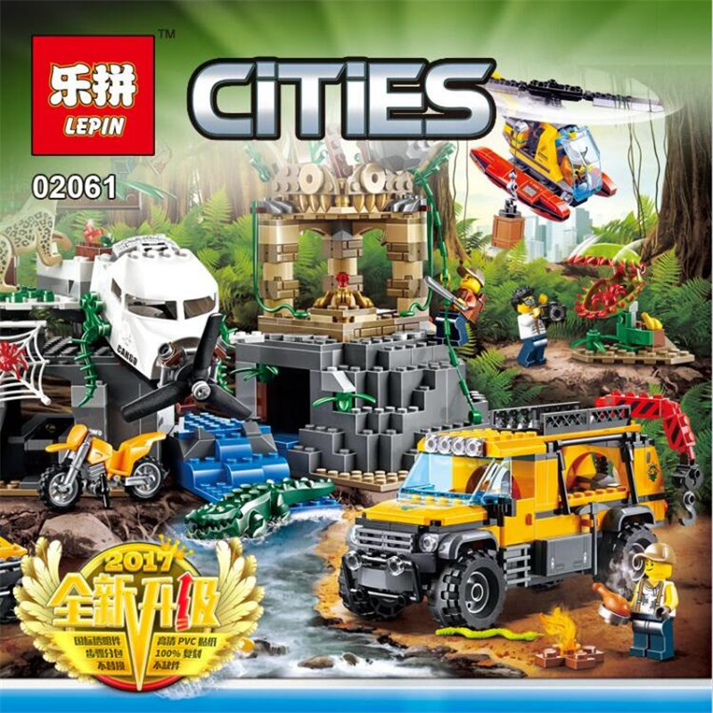 Lepin 02061 City New Series Exploration of Jungle Building Blocks Bricks DIY Model Set Educational Children Toy 60161 Gift lepin 02061 genuine city series the jungle exploration site set 60161 building blocks bricks christmas gift for children 870pcs