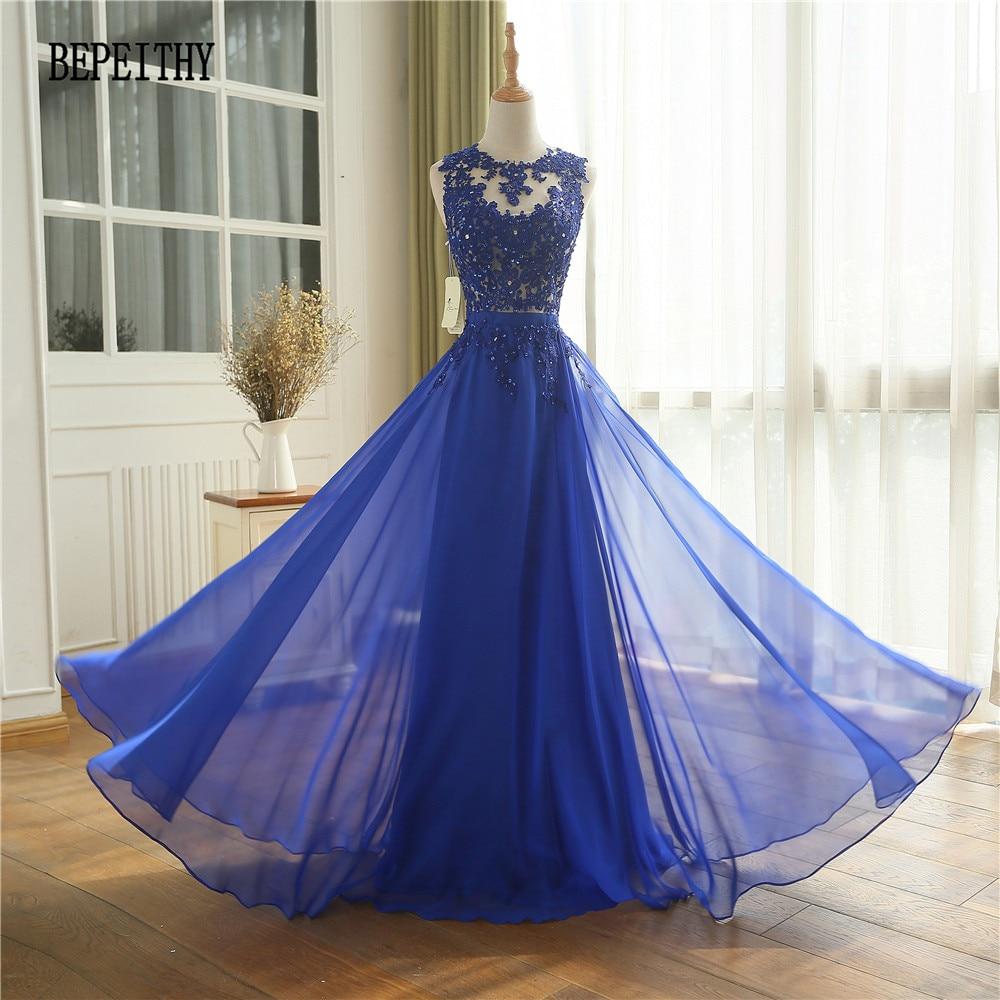 BEPEITHY New Arrival Custom Made Vestido Longo Prom   Dress   Robe De Soiree Longue Chiffon Royal Blue Long   Evening     Dress   2019