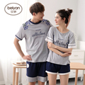 Summer Cotton Short-sleeve Lovers Sleepwear Thin Female's Pure Cotton At Home Relaxed Male's Lounge