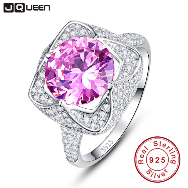 JQUEEN 6.5 Ct Pink Topaz 925 Sterling Silver Rings Round Cut Flower Design Wedding Engagement Jewelry For Women with Gift Box