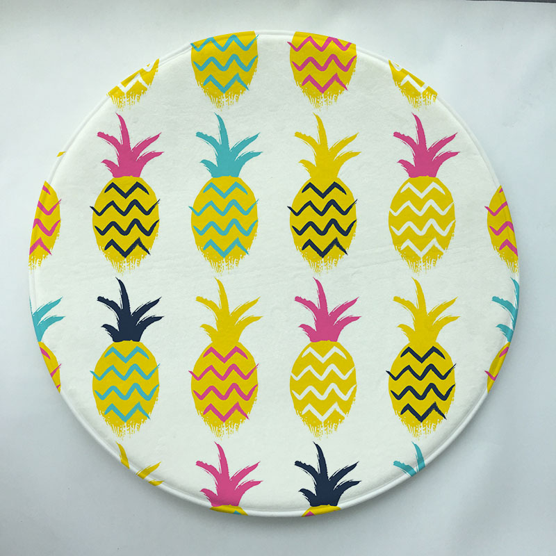 Pineapple  Print Custom Round Doormat Non-slip Rug Pad Carpet Kids Room Home Decor Floor Mat Water Absorption Mat