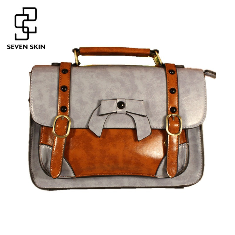 SEVEN SKIN Famous Brand Women Messenger Bag Luxury PU Leather Handbags Female Retro Designer Bags Women Casual Tote Bag with Bow