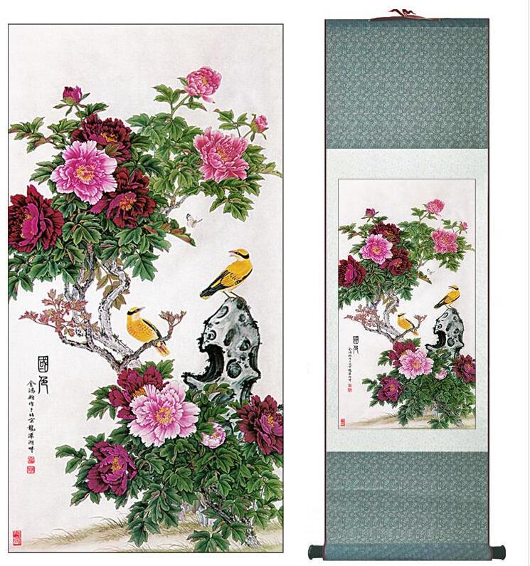 Doprava zdarma Chinese Art Painting Home Office Decoration Čínská malba oriole s Pivoňka květem