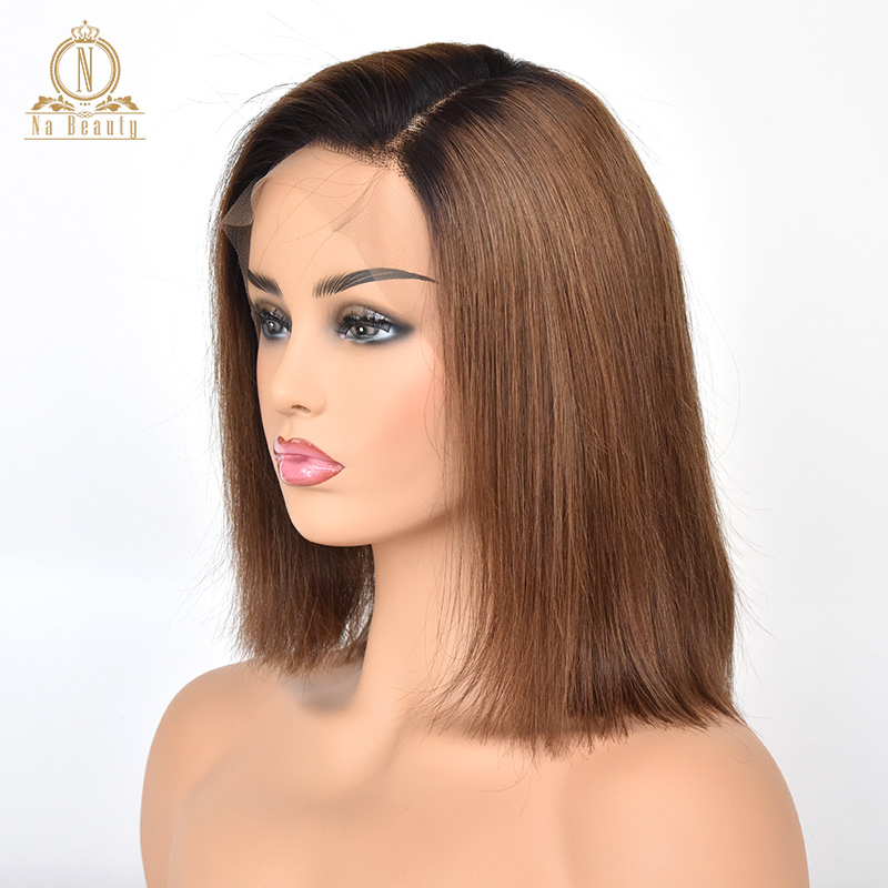 Glueless 13x6 Lace Front Human Hair Wigs Straight Natural Black &Brown Ombre Short Wig For Women Bob Wig Remy 130% Malaysia Hair