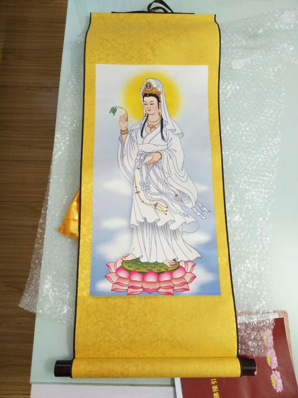 Us 63 48 8 Off Spiritual Protection Bless Family Home Living Room Altar Wall Decorative Lotus Guanyin Buddha Feng Shui Chinese Silk Painting In