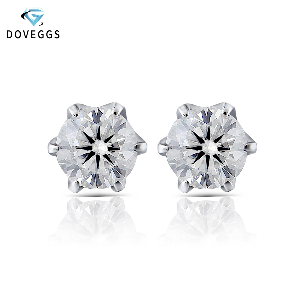 0.5ctw DovEggs 14 k 585 Ouro Branco F VVS Cor Lab Criado Moissanite Brincos de Diamante Para As Mulheres Brincos de Ouro empurrar para Trás