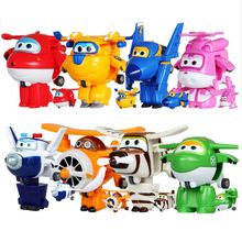 DATE!!! 8 pcs/ensemble Super Ailes Mini Avions Jouets Déformation Avion Robot Figurines Garçons et Filles Cadeau D'anniversaire Brinquedos