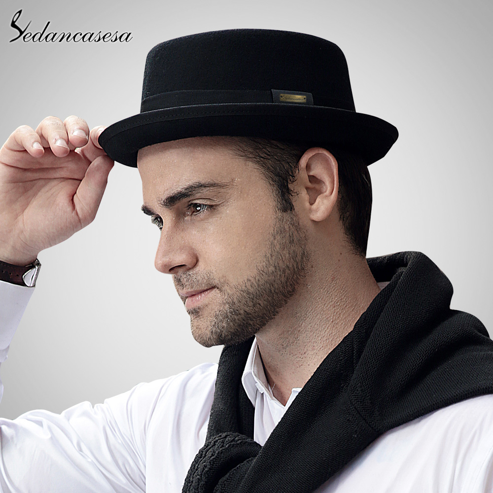 Sedancasesa 2019 Hat Fashion 100% Australia Wool Men's Fedora Hat With Pork Pie Hat For Classic Church Wool Felt Hat FM017028(China)