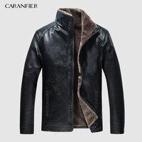 CARANFIER новая осенне-зимняя мотоциклетная кожаная куртка мужские ветровки Куртки из искусственной кожи мужская верхняя одежда теплые бейсбо...