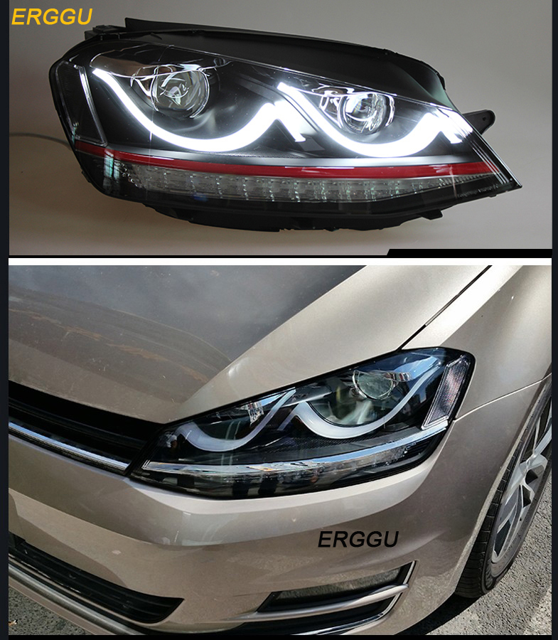 ERGGU Car Styling for VW GOLF 7 MK7 Headlights LED Headlight DRL Daytime Running Light Bi-Xenon Lens HID SIGNAL electric car motorcycle 15w led headlights modification lens light 12 60v
