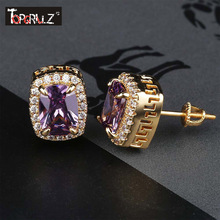 TOPGRILLZ Multicolor Iced Out Bling Stud Earring Micro Pave Cubic Zircon Stones Square Earrings Hip Hop Jewelry For Gifts Party