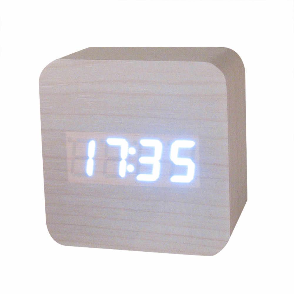 Wood Bamboo LED Alarm Clock Modern Temperature Desk Clock LED Electronic  Desktop Digital Table Clock#23#5%
