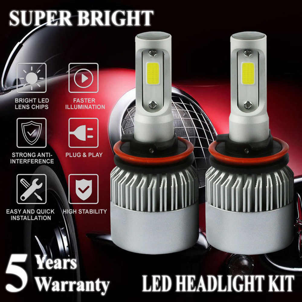 H11 LED Headlight Bulbs Conversion Kit - 9007 HB5 Hi/Lo Dual Beam, 72w 7600lm 6K Cool White LED Headlights Low Beam High Power