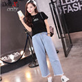 Spring Autumn Women Jeans Loose Wide Leg Pants Washed Blue High Waist Ankle-Length Pants jeans size S-XL
