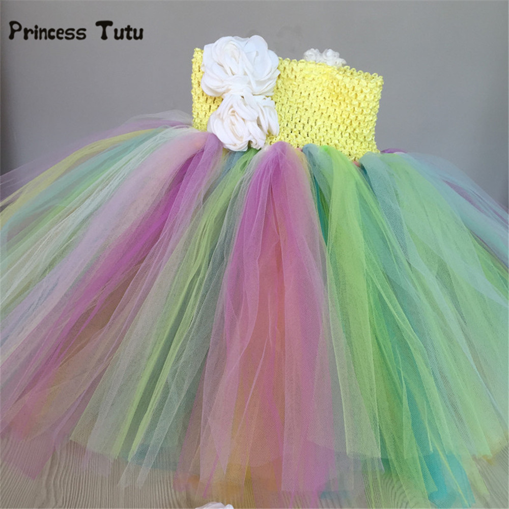 Rainbow Girls Dress Candy Color Performance Tutu Dress Kids Tulle Pageant Gowns Baby Girls Birthday Party Princess Dress Costume