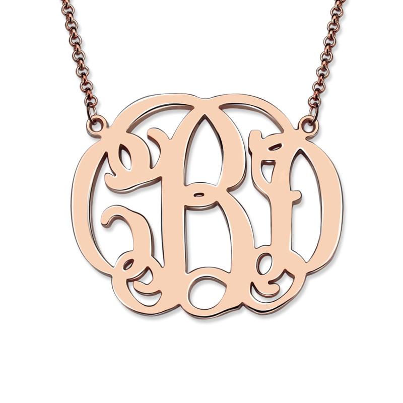 personalized rose gold color celebrity monogram necklace. Black Bedroom Furniture Sets. Home Design Ideas