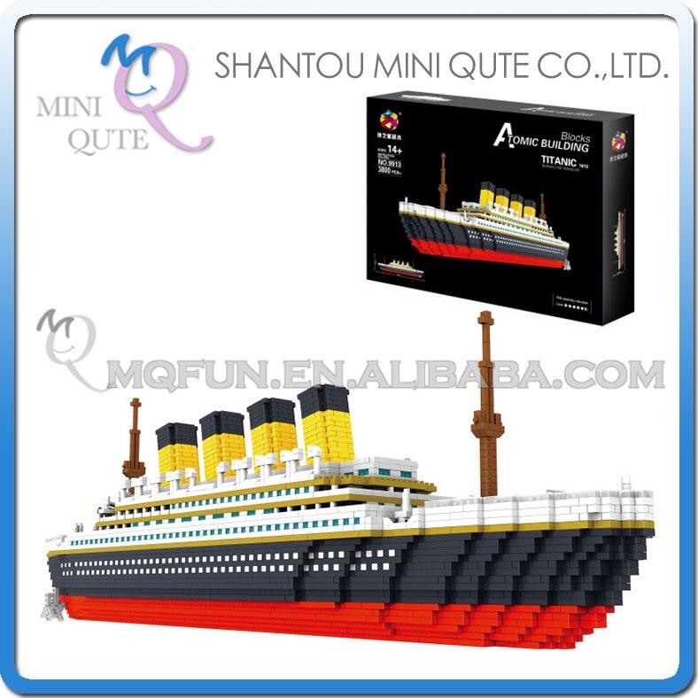 PZX blocs de diamant briques techniques blocs de construction jouet véhicule RMS bateau Titanic bateau à vapeur modèle jouets pour enfants Micro créateur