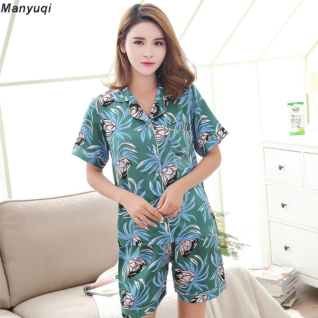 Women s Silk Pajamas Sets Summer Female Floral Satin Pyjamas Sleepwear  short sleeve+ shorts Loungewear Pajamas Women c49492856