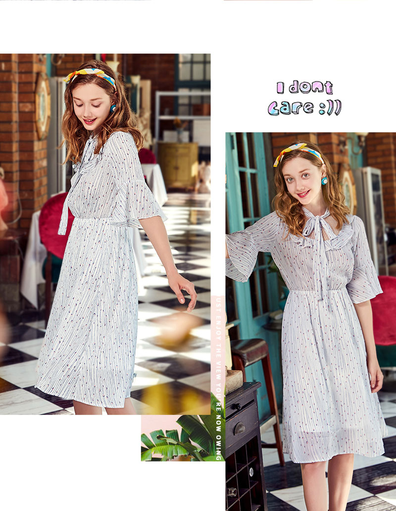 Semir Female Dress 2018 Summer New Chiffon Romantic Sweet Fresh Bow Beach Women Dresses Lace Stitching Sweet Strap Clothes Lady 12