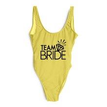 846f1893df459 2019 One Piece Swimsuit Diamond TEAM BRIDE Letter Print Swimwear Women Pink Bathing  Suit Sexy Bodysuit