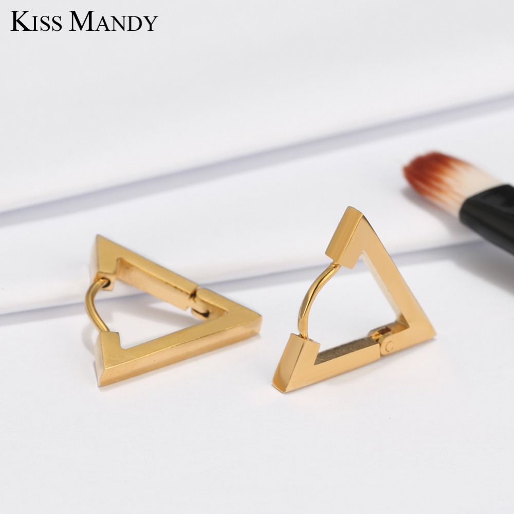 KISS MANDY Triangle Stainless Steel Stud Earrings For Female Men Jewelry Punk Rock Gold-color Earring Gift FE100