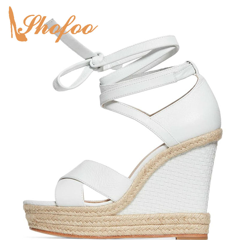 Wedges Heels Platform Cross-Tied Gladiator Ankle-Wrap Fashion White Solid Lace-Up Leisure