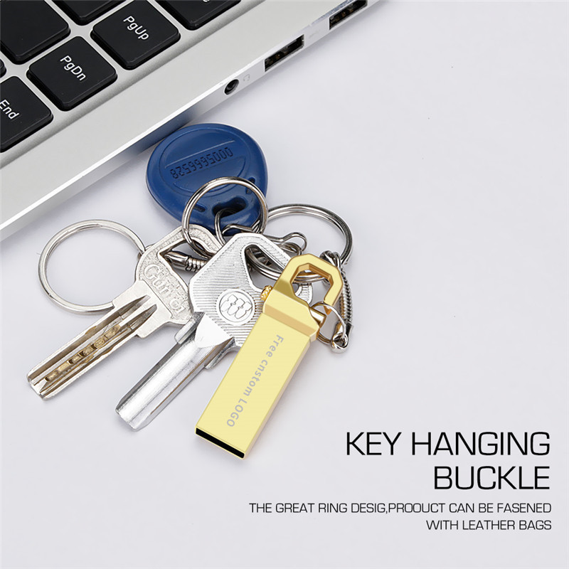 Image 2 - New usb flash drive 2.0 metal keychain pen drive 32GB usb stick 4GB 16GB 64GB 128GB waterproof flash disk 8GB Free print LOGO-in USB Flash Drives from Computer & Office